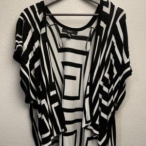 Forever 21 Black and White Striped Cardigan